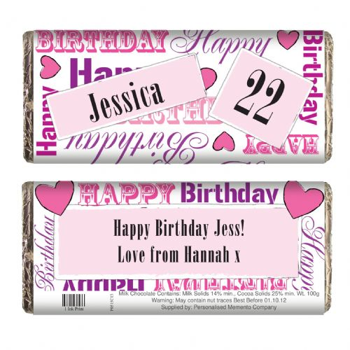 Personalised Pink Happy Birthday Chocolate Bar